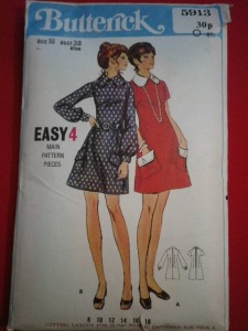 Butterick Vintage 60s Dress Pattern.